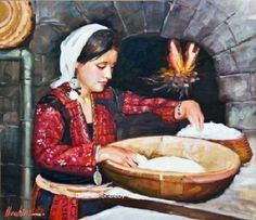 """""""The Bread of My Mother"""" Painting by Ibrahim Shalabi Palestine Art, Palestine History, Mother Painting, Art Optical, Palestinian Embroidery, Arabic Art, Sand Art, Egyptian Art, Abstract Photography"""
