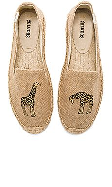c78dc60172b1 Giraffe Smoking Slipper by Soludos. Textile upper with man made sole.  Slip-on styling. Inspired by traditional Mediterranean beach shoes
