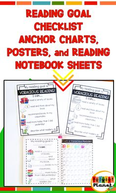 These reading goal anchor charts, posters, and reading notebook sheets for students are super handy to keep your students on track with their reading goals!  Reading goal setting with your students is easy with these fun reading goal sheets. Super low prep, just print and go.  Post the posters and anchor charts in your classroom while your students keep track of their goals in their reading notebooks with the reading goal checklists! Check them out today!  #readinggoals #primaryplanet #teaching Reading Resources, Reading Strategies, Reading Activities, Teaching Reading, Reading Comprehension, Teacher Resources, Teaching Ideas, Reading Conference, Reading Notebooks