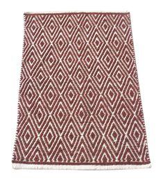 Chardin Home - 100% cotton Diamond Rug Fully reversible - Mat size 21''x34'', Machine washable, Brick Red & Ivory