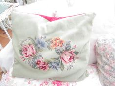 Vintage needlepoint roses pillow shabby chic victorian