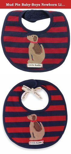 """Mud Pie Baby-Boys Newborn Little Buddy Puppy Bib, Blue/Red, One Size. Soft striped knit pique bib features sitting dog applique """"Little buddy"""" twill tape and long pile minky backing."""
