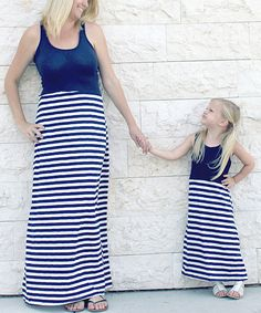 Loving this CopyCat Couture Navy & White Stripe Maxi Set - Infant, Toddler, Girls & Women on #zulily! #zulilyfinds