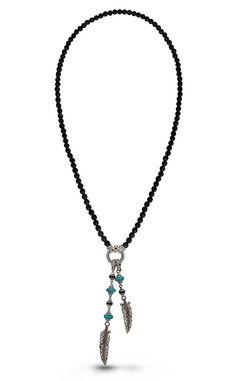 Night Flight Feather Necklace – Black Sapphire, Pink Garnet, Onyx & Tu – Barbara Bixby