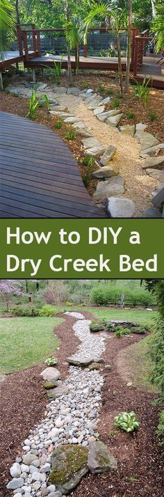 Dry Creek Bed Ideas for your landscape. Beautiful ways to add a creek to your yard or landscape without adding water.DIY Dry Creek Bed Ideas for your landscape. Beautiful ways to add a creek to your yard or landscape without adding water. Landscaping Around House, Landscaping With Rocks, Front Yard Landscaping, Backyard Landscaping, Landscaping Ideas, Fun Backyard, Backyard Playground, Yard Edging, Dry Creek Bed
