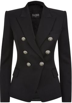 Love this: BALMAIN Black Double Breasted Wool Blazer @Lyst