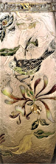 Detail - EMILE GALLÉ (1846-1904) ENAMELLED PARLANTE VASE, CIRCA 1900 glass, acid-etched and decorated in enamels and gilt with bird and foliage, with enamel frieze Lien d'amour 10 in. (25.5 cm.) high signed in cameo gallé Enamels, Vase, Bird, Detail, Abstract, Artwork, Painting, Decor, Summary