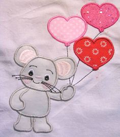 Valentine Mouse With Balloons Machine Applique by KCDezigns, $3.50