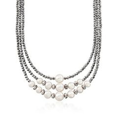 6.5-10mm Cultured Pearl and Hematite Bead Three-Strand Necklace With Sterling Silver   www.ross-simons.com