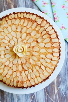 Italian Almond Tart by My Golden Pear. This almond tart is deliciously moist and fragrant and makes the perfect tea time treat.