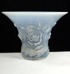 Barolac Opalescent Glass Roses Vase.
