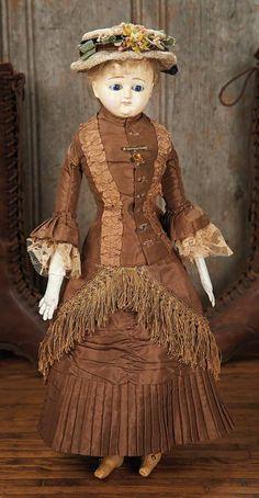 19th Century Paper-Mache Doll with Original Costume.