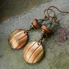 Copper Disc Earrings Ceramic Mixed Metal Red Tribal OOAK by Chrysalis Jewelry