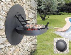 barbecue fixe en métal à montage mural unique