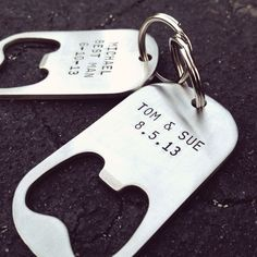 Set of 10 - GROOMSMAN GIFTS Personalized Bottle Opener Keychains - Wedding Best Man. $118.99, via Etsy. I have to tell my fiance about this idea.