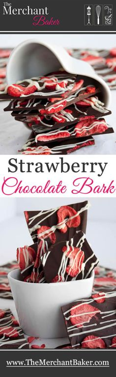 Strawberry Chocolate Bark. Vibrant and flavorful freeze dried strawberries grace this pretty chocolate bark.