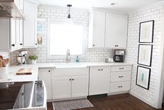 """bathroom inspiration:  white subway tile on shower walls, white penny tile on shower floors, dark """"hardwood"""" faux tile on bathroom floors"""