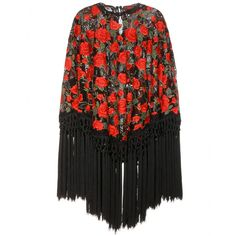 Dolce & Gabbana - Embroidered poncho - Dolce & Gabbana revives the poncho with romantic allure. Red roses are embroidered onto a black net base, with a fringed trim promising volume and form. Style as a statement piece over the top of a simple black dress. seen @ www.mytheresa.com