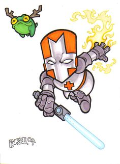 Orange Knight by on DeviantArt Castle Crashers, Gaming Tattoo, Indie Games, Best Games, Cute Drawings, Bowser, Video Game, Knight, Anime Art