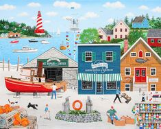 Folk Art Art Print featuring the painting Where the Buoys Are by Wilfrido Limvalencia Cottage Art, Art Competitions, Puzzle Art, Naive Art, Country Art, Love Painting, Diy Arts And Crafts, Beach Art, Thing 1