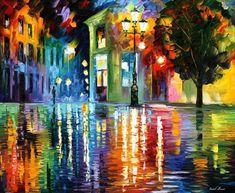 Wonderful Night PALETTE KNIFE Cityscape by AfremovArtStudio
