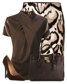 Brown outfit by suzzanne567 on Polyvore featuring polyvore, fashion, style, Salvatore Ferragamo, Diane Von Furstenberg, Jeffrey Campbell, MICHAEL Michael Kors, Vintage America, clothing and SuzzanneA