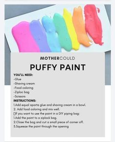 Sensory Activities Toddlers, Science Activities For Kids, Fun Crafts For Kids, Diy For Kids, Sensory Play, Kid Crafts, Children Crafts, Diy Piping Bag, Puff Paint