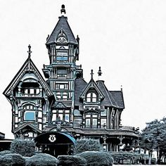Drawing - The Carson Mansion by Edward Fielding