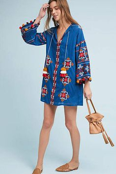 MISA Palma Embroidered Tunic Dress