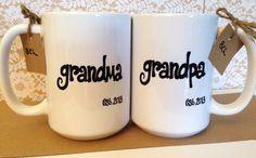 New GRANDMA or GRANDPA Mugs Est. Year Cute by BabyCakeLane on Etsy, $11.95