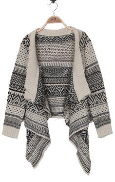 ++ Black and Beige Striped Tribal Asymmetric Hem Cardigan Sweater