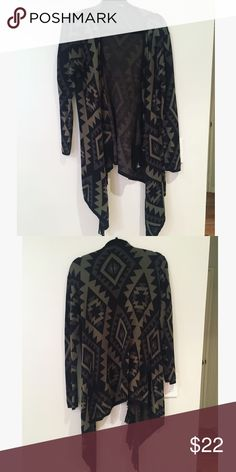 Aztec Sweater Black and olive green. Sweaters Cardigans
