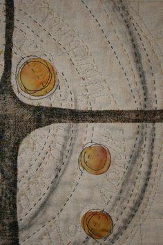 crossroads (detail) by Catherine Nicholls Textile Fiber Art, Fibre Art, Neutral Quilt, Contemporary Embroidery, Miniature Quilts, Kantha Stitch, Couture, Textiles, Book Making