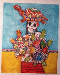 Very cool day of the dead canvas. Check out the turtles.