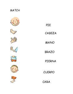 Fichas de Inglés para niños: Worksheets parts of body
