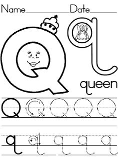 Queen for q alphabet worksheets, preschool worksheets, alphabet activities, Preschool Writing, Preschool Letters, Preschool Curriculum, Preschool Lessons, Alphabet Activities, Preschool Activities, Kindergarten, Letter Q Worksheets, Printable Preschool Worksheets