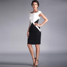 2015 New Summer Striped Black White Short Slim Dress for Party/Work/Banquet Formal Office Lady Runway Style,Plus Size 3XL D-004