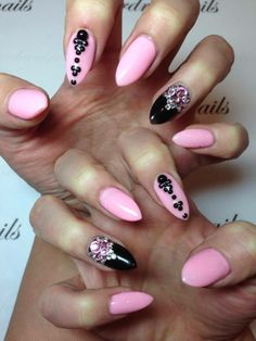 pink and black almond nails