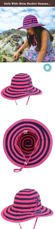 Girls Wide Brim Bucket Summer Sun Hat In Pink In Size Small. The Sundae is a gorgeous GirlÕs Wide Brim Hat that is available in Raspberry & Navy Striped Ribbon. This sunhat for girls is perfect for the outdoors and provides the good sun coverage for your little one with an ample wide brim. Your little princess will have continuous shade anytime she is outdoors - and with colors this lovely, she won't want to take it off! Featuring a textured ribbon material, that adds a unique element to...