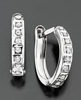 Hoop Earrings, 14k White Gold Diamond Accents