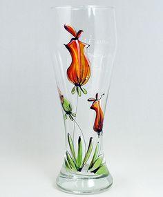 Verre à bière (510 ml) : : Tulipes   *** Produit peint à la main. Hurricane Glass, Decoration, Vase, Tableware, How To Make, Crafts, Decor Ideas, Painting, Beer Glassware