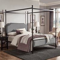 Natasha Modern and Contemporary Platform Canopy Bed - Overstock - 31227065 - King Black Canopy Beds, Queen Canopy Bed, Metal Canopy Bed, Queen Size Bedding, Queen Beds, King Size Canopy Bed, Bedroom Furniture Stores, Furniture Deals, Furniture Outlet