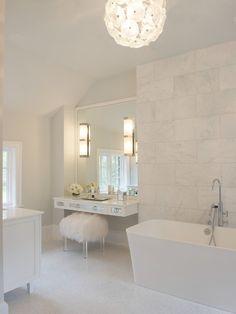 Susan Glick Interiors - bathrooms - mini marble tiles, mini marble floor tiles, white mini marble tiles, floating vanity, floating make up v...