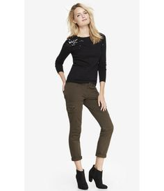Green. For Office Hours And After Hours, A Substantial Twill Pant With The Sexy Silhouette And Stretch Comfort Of Leggings. Slim Snap Cargo Pockets On The Sides And Darts At The Knees Are Throwback Details That Feel Totally Fresh. Womens Leggings. 4