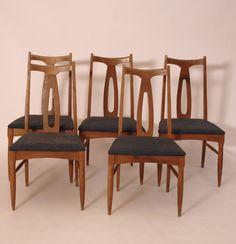 Set of 5 Vintage Midcentury Fabric Dining Chairs - Harrington Galleries