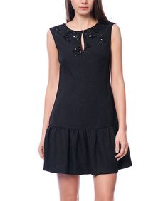 Look what I found on #zulily! Black Embellished Drop-Waist Dress #zulilyfinds