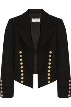 Saint Laurent|Cropped wool-twill blazer|NET-A-PORTER.COM