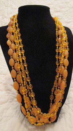 Vintage Necklace Butterscotch color Multi shape by rarefinds4u $10.50