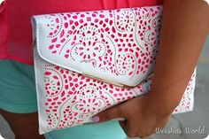 Gorgeous White and Pink Geometric Pattern Clutch