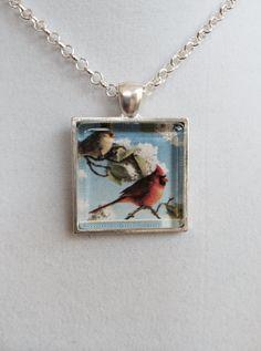 Red Cardinal Bird Pendant Necklace by joytoyou41 on Etsy, $20.00